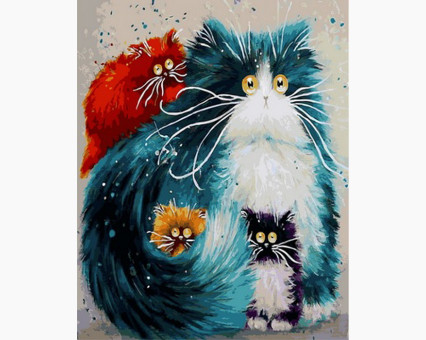 Купить VP874 Раскраска по номерам Мама кошка Babylon
