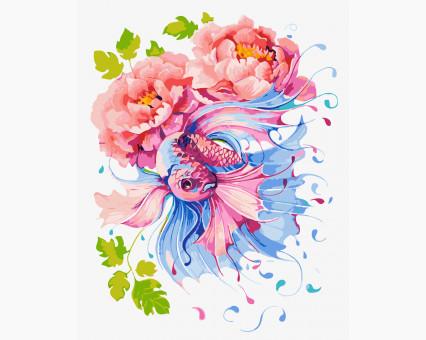 Купить BK-GX23784 Раскраска по цифрам Рыбка и пионы (Без ...