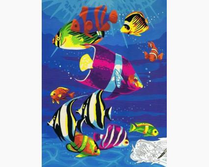 BK-E052 картина по номерам Тропические рыбки НикиТошка