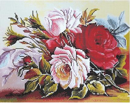 Алмазная мозаика Никитошка Роскошные розы (GJ1557) 40 х 50 см