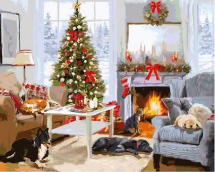 VP998 картина по номерам Рождественское утро у камина DIY Babylon
