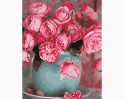 AS0332 картина по номерам Розы в вазе ArtStory