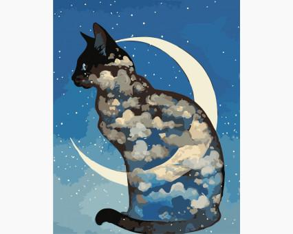 AS0403 картина по номерам Лунный кот ArtStory