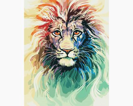 AS0404 картина по номерам Цветной лев ArtStory