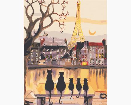 AS0407 картина по номерам Парижские коты ArtStory
