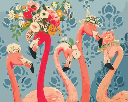 AS0408 картина по номерам Красотки фламинго ArtStory