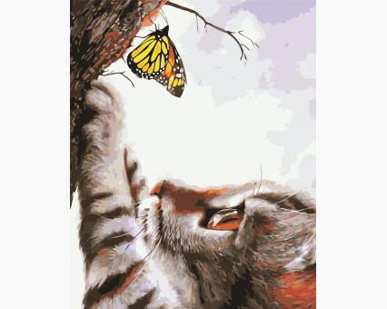 AS0413 картина по номерам Кот и бабочка ArtStory