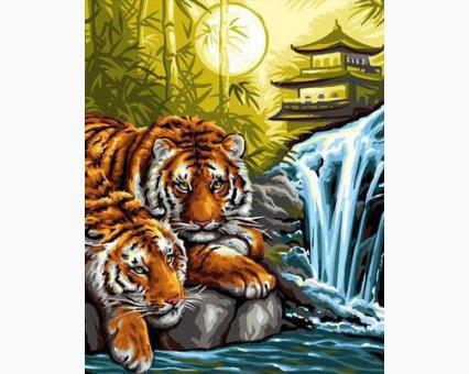 DM-285 алмазная вышивка Тигры на отдыхе ТМ Алмазная мозаика