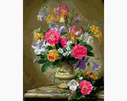 MR-Q2168 Раскраска по цифрам Розы цвета фламинго Mariposa