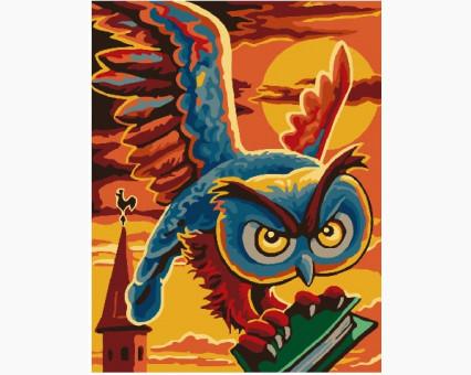 Купить BK-GX26205 Картину раскраска Сова Гогена с книгой ...