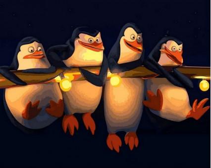 MR-Q2186 Картина раскраска Пингвины Мадагаскар Mariposa
