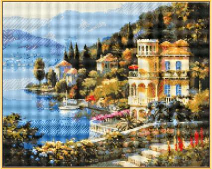 Алмазная мозаика Турбо Цветущее побережье (ST019) 40 х 50 см