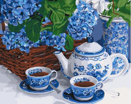 Купить KH5554 Картину раскраска Чаепитие с голубым ...