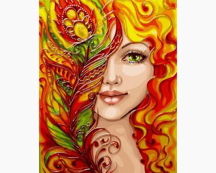 KHO4599 Картина раскраска Девушка-феникс (с краской металлик) (Без коробки) Идейка