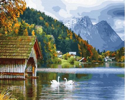 BK-GX27951 Картина раскраска Озеро с лебедями (Без коробки)