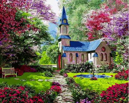 VP1153 Картина раскраска Цветущий сад DIY Babylon