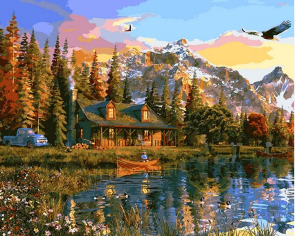 VP1160 Картина раскраска Закат над озером DIY Babylon