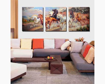 DZ211 картины по номерам Триптих. Дикие лошади DIY Babylon