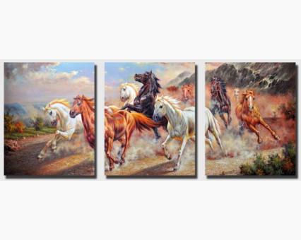 DZ211 картины по номерам Триптих. Дикие лошади DIY Babylon фото набора