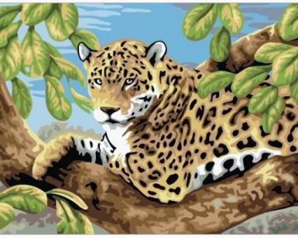 E083 картина по номерам Ягуар на ветке Идейка