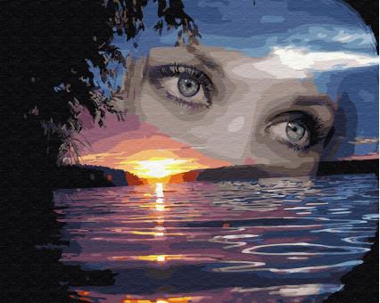 BK-GX27261 картина по номерам без коробки Глаза на закате НикиТошка