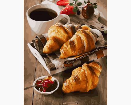 BK-GX30865 Картина по номерам Утро с кофе и круассанами (Без коробки)
