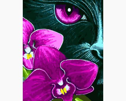 BK-GX31620 картина по номерам без коробки Кошка среди фиалок Rainbow Art