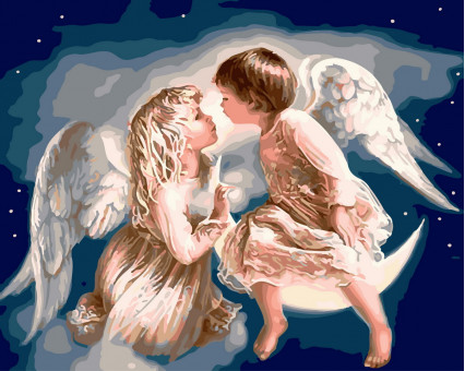 BK-GX32110 картина по номерам без коробки Ангелочки Rainbow Art