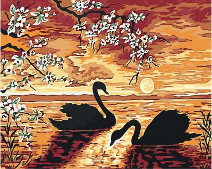 BK-GX32173 картина по номерам без коробки Лебеди на закате Rainbow Art