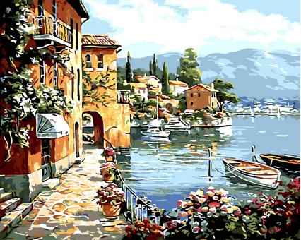 BK-GX32191 картина по номерам без коробки Живописный залив Rainbow Art