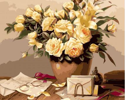 BK-GX32495 картина по номерам без коробки Жёлтые розы Rainbow Art