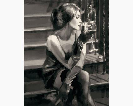 VP1234 картина по номерам Девушка с бокалом на лестнице DIY Babylon