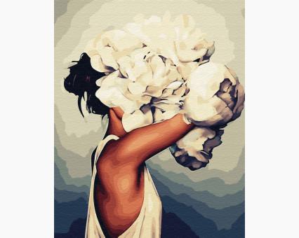 BK-GX33516 картина по номерам без коробки Женщина в пионах Эми Джадд Brushme