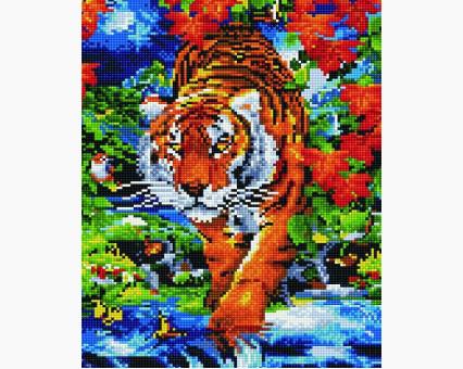 EJ303 алмазная живопись на подрамнике Тигр на реке Rainbow Art