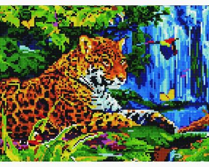 EJ307 алмазная вышивка Леопард у водопада Rainbow Art