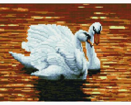 EJ456 алмазная вышивка Лебеди на закате Rainbow Art