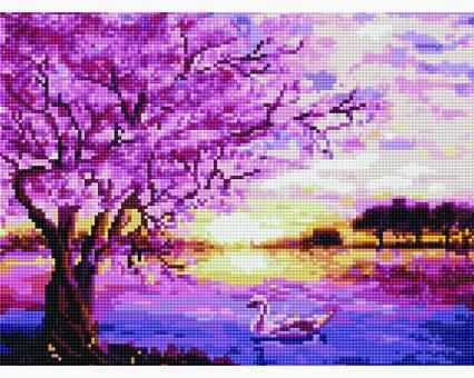 EJ605 алмазная вышивка Сакура над рекой Rainbow Art
