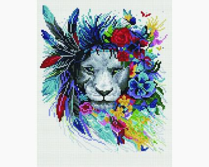 EJ646 алмазная живопись на подрамнике Лев в цветах Rainbow Art