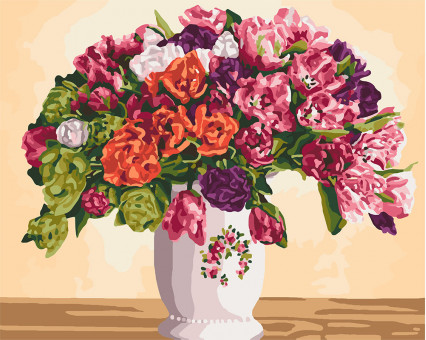 KH3075 Картина по номерам Пышные тюльпаны Идейка