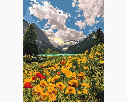 KHO2268 картина по номерам без коробки Величественные альпы Идейка