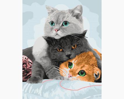 KHO4151 картина по номерам без коробки Три кота Идейка