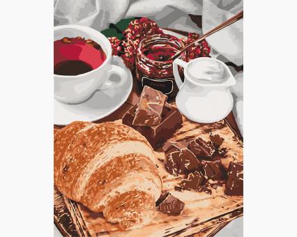 KHO5573 картина по номерам без коробки Французский завтрак Идейка