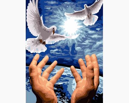VK246 картина по номерам Пара голубей DIY Babylon