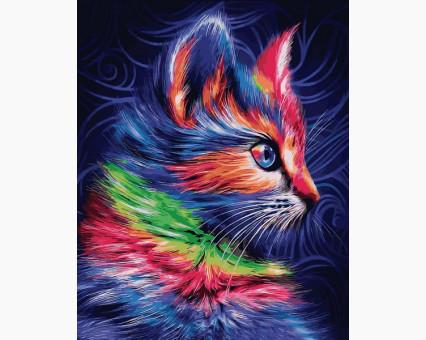 VP1252 картина по номерам Разноцветный котенок DIY Babylon