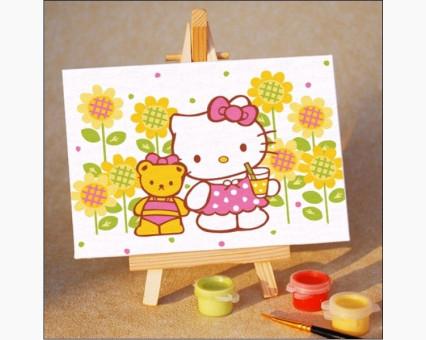 MC004 Картинки раскраски для детей Hello Kitty. Китти: коктейль на лужайке Menglei (Китай)