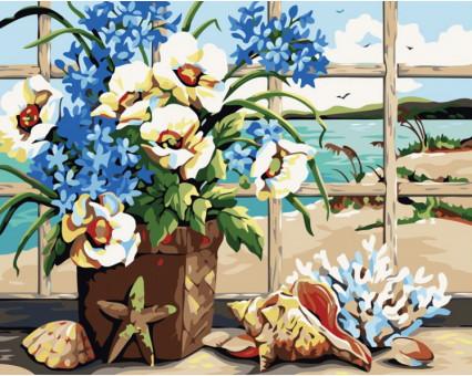KH049 картина по номерам Цветы у моря Идейка
