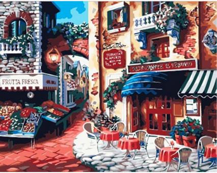 KH078 Картина по номерам Итальянская улица Вкус Италии Идейка