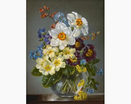 KH1010 картина по номерам Цветы в стеклянной вазе Идейка фото набора
