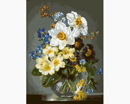 KH1010 картина по номерам Цветы в стеклянной вазе Идейка