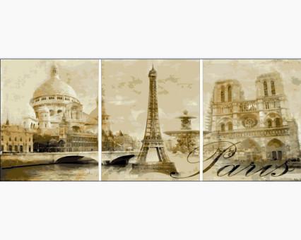 MS14029 картины по номерам Триптих. Париж  DIY Babylon